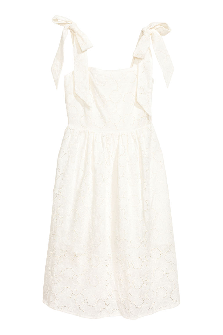 Dress with broderie anglaise - White -  | H&M