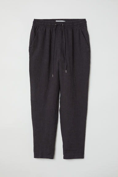 Linen joggers - Dark grey - Ladies | H&M