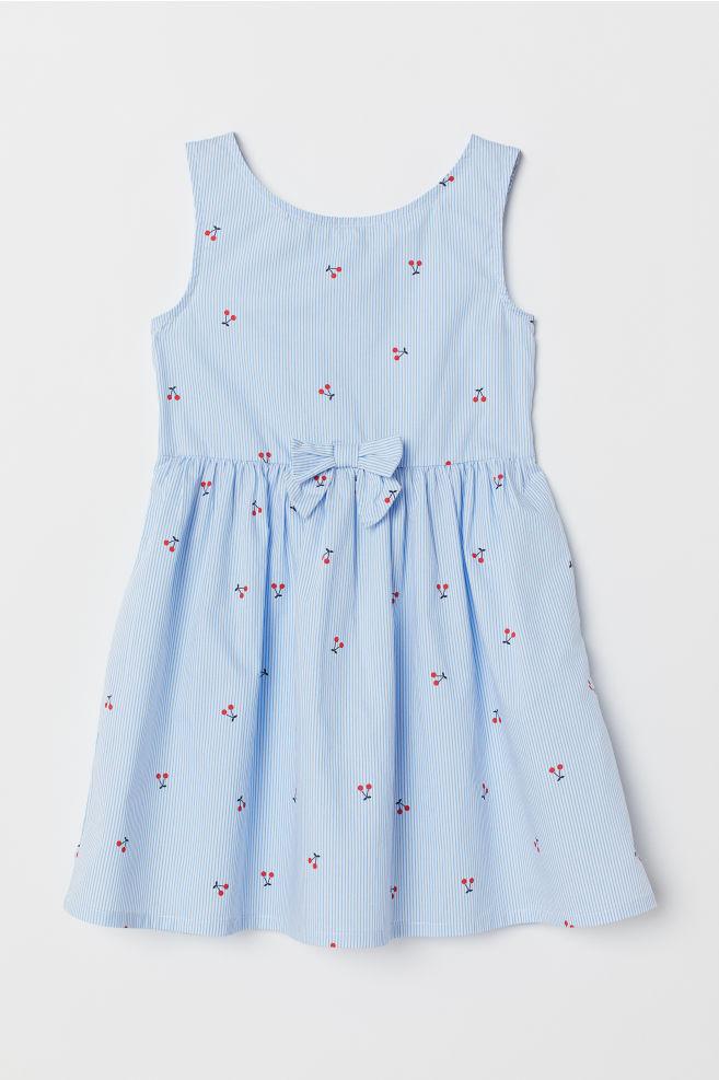 e0f414f34 ... Vestido de algodón - Azul claro Cerezas -