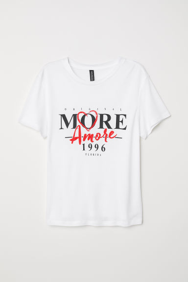 T-shirt with a motif - White/More Amore - Ladies | H&M CN