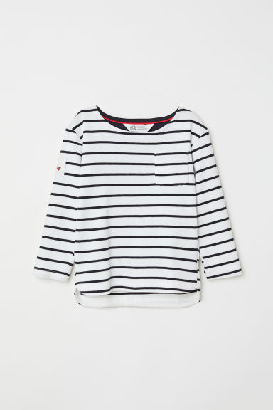 Striped jersey top - White/Dark blue striped -  | H&M