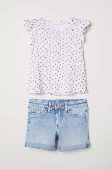 Top and denim shorts - White/Watermelons - Kids | H&M