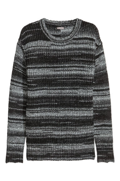 Knitted jumper - Black marl -  | H&M
