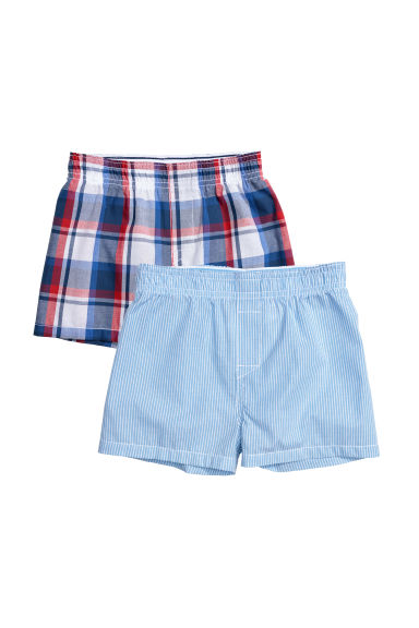 2-pack woven boxer shorts - Blue/Checked - Kids | H&M