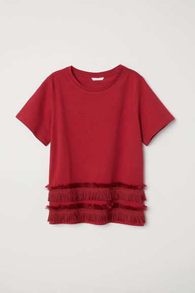 Top in jersey con frange - Rosso scuro -  | H&M IT