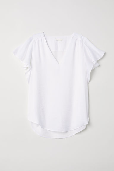 Short-sleeved satin blouse - White - Ladies | H&M CN