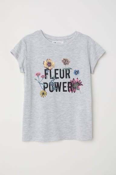 Printed jersey top - Grey marl/Fleur Power - Kids | H&M