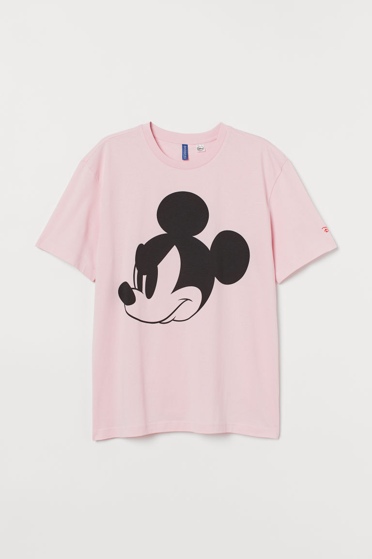 T-shirt with Printed Design - Light pink/Mickey Mouse - Men | H&M US