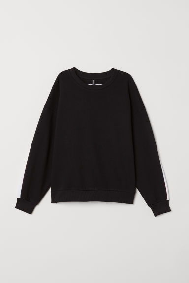 Printed sweatshirt - Black/White -  | H&M