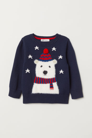 Fine-knit jumper - Dark blue/Polar bear - Kids | H&M