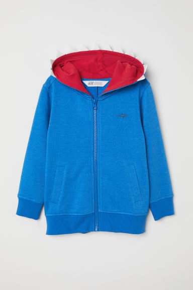 Hooded jacket with a motif - Blue/Shark - Kids | H&M