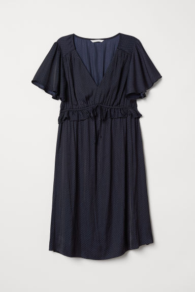 MAMA Frill-trimmed dress - Dark blue - Ladies | H&M