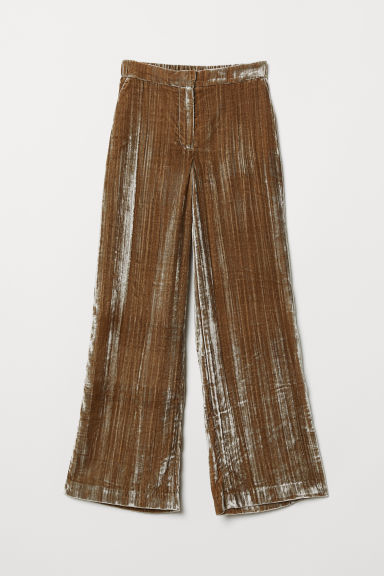 Crushed velvet trousers - Dark beige - Ladies | H&M CN