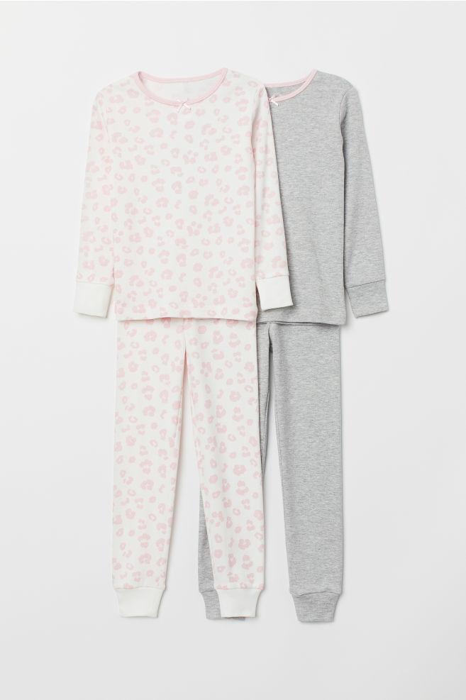 302e277a7a 2-pack Jersey Pajamas - Pink leopard print - Kids