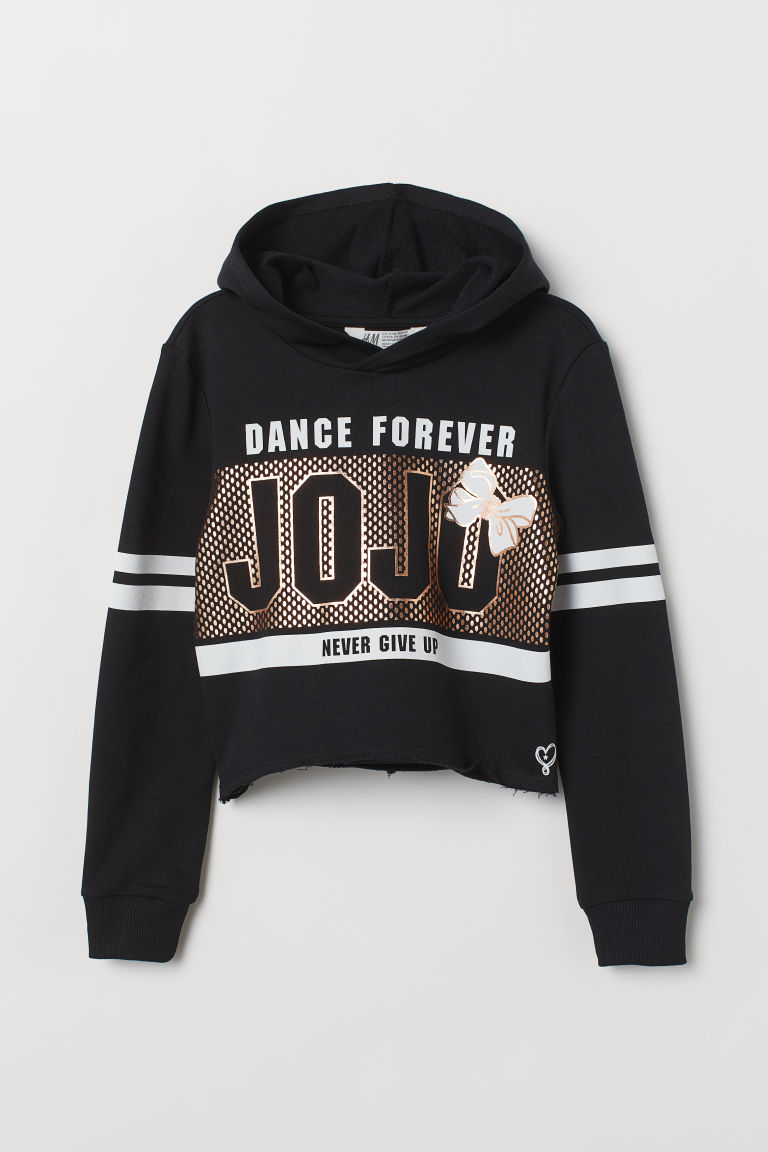 Cropped hooded top - Black/Dance Forever - Kids | H&M GB