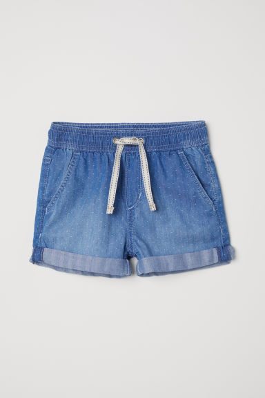 Thin denim shorts - Denim blue/Spotted -  | H&M