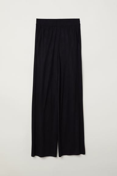 Wide jersey trousers - Black - Ladies | H&M CN