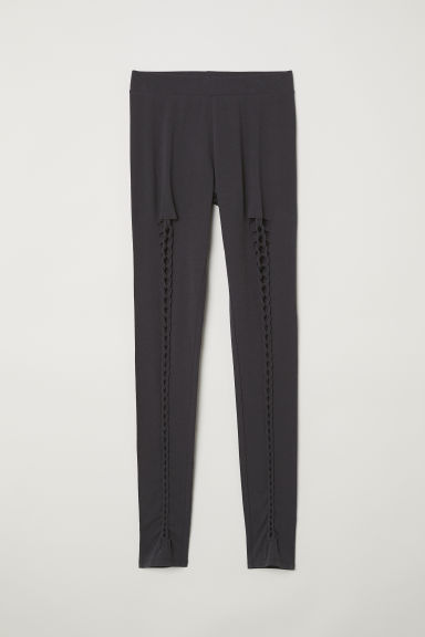 Leggings with lacing - Dark grey - Ladies | H&M CN