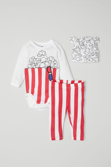 3-piece jersey set - White/Popcorn - Kids | H&M