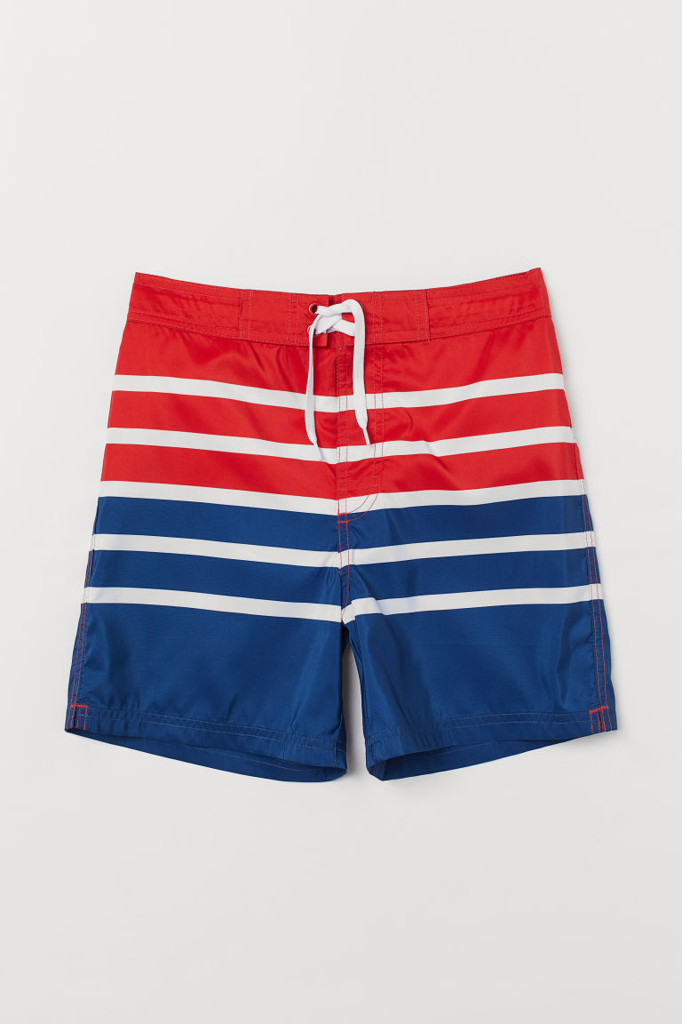 Patterned swim shorts - Red/Blue striped - Kids | H&M