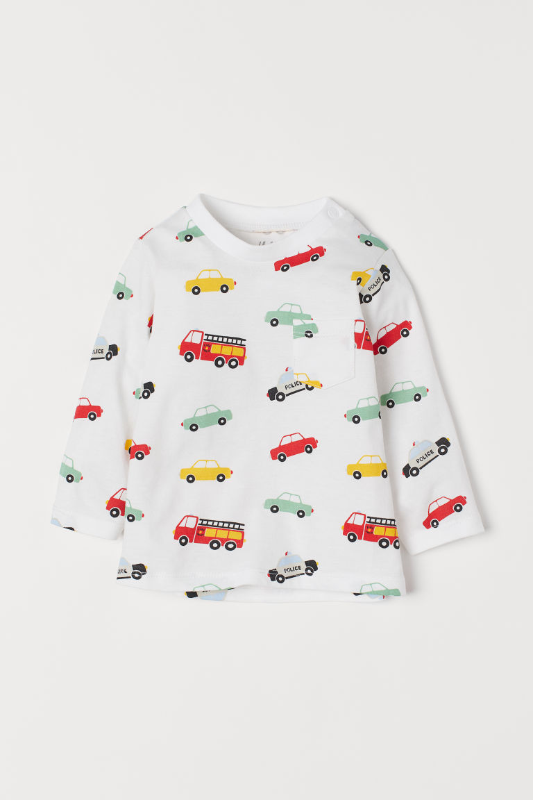 Jersey top - White/Cars - Kids | H&M