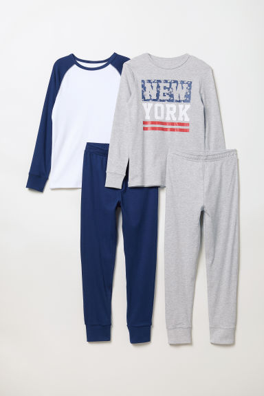 2-pack jersey pyjamas - Light grey marl/New York - Kids | H&M