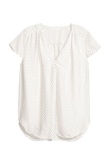 Satin blouse - White/Spotted -  | H&M