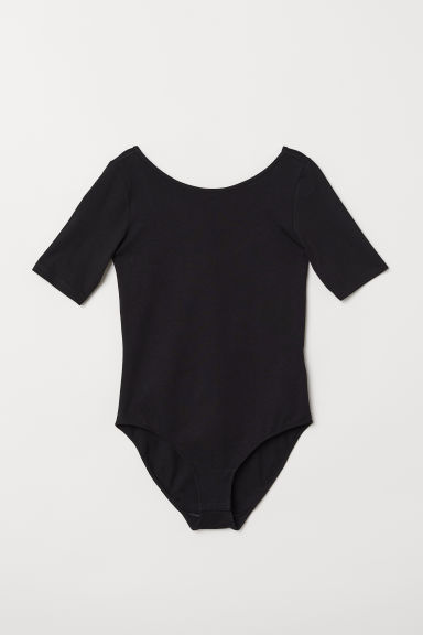 Short-sleeved jersey body - Black - Ladies | H&M