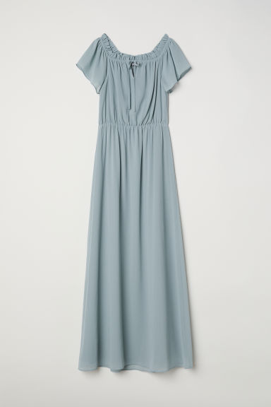Long off-the-shoulder dress - Light turquoise -  | H&M