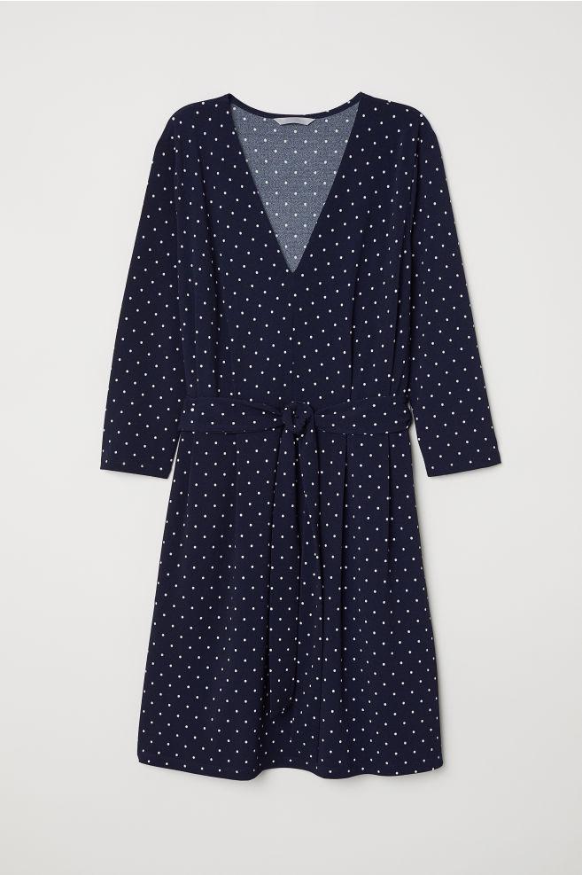 e062244b V-ringet kjole - Mørk blå/Hvit prikket - DAME   H&M ...