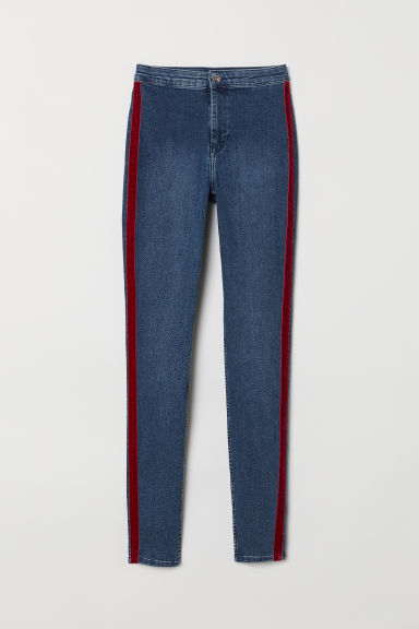 Pantaloni in twill con bande - Blu denim/rosso scuro - DONNA | H&M IT