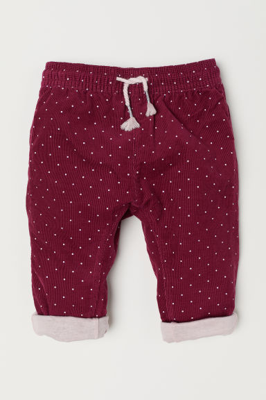 Lined corduroy trousers - Burgundy/Spotted - Kids | H&M