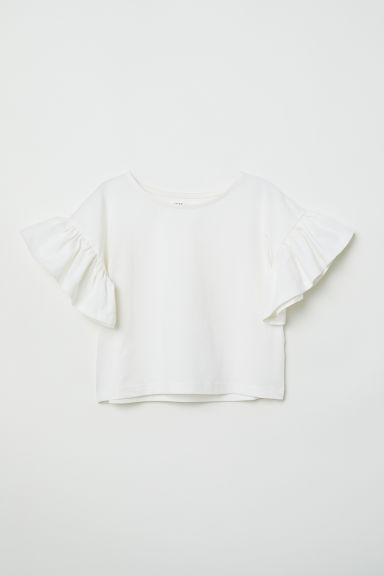 Jersey top with flounces - White - Kids | H&M