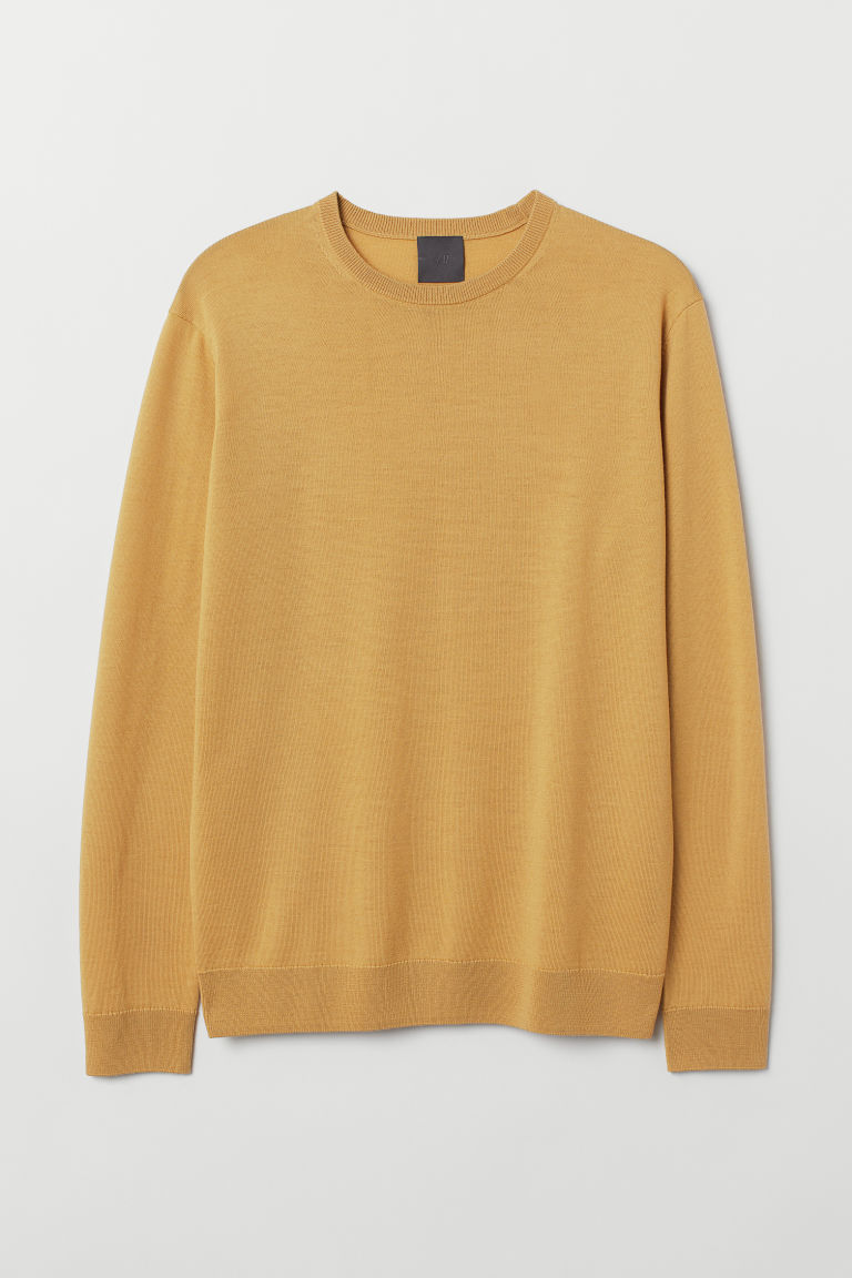 Merino wool jumper - Mustard yellow - Men | H&M GB