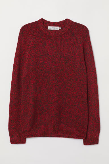Cotton-blend jumper - Red/Black marl - Men | H&M CN