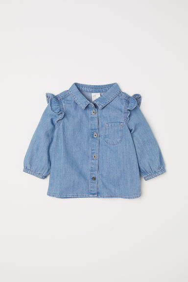 Denim shirt with flounces - Light denim blue - Kids | H&M CN