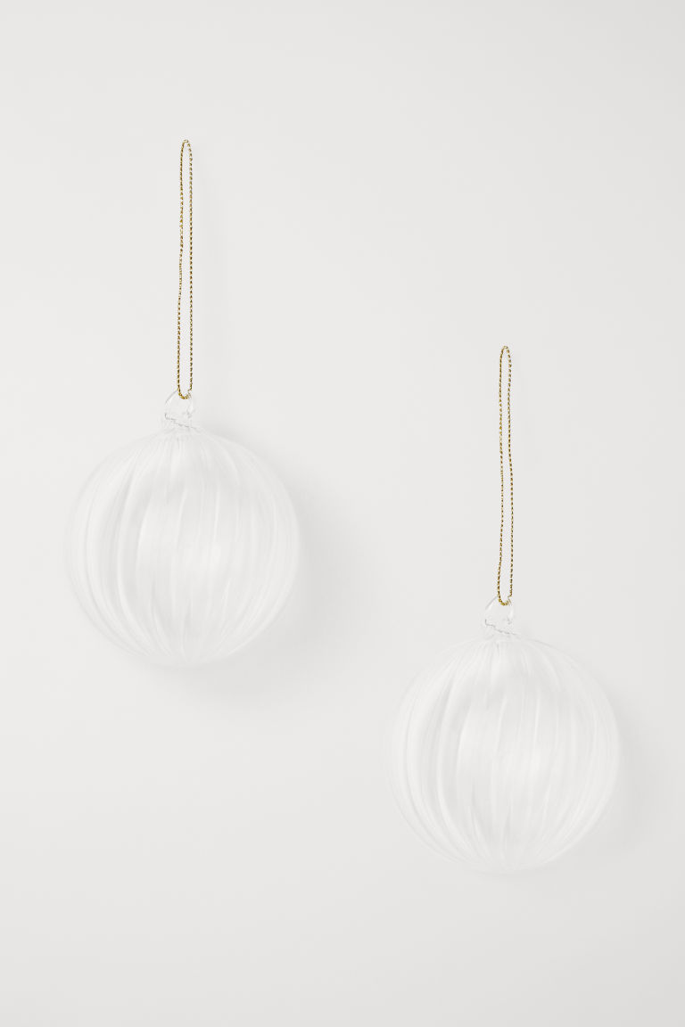 2-pack Christmas decorations - Clear glass - Home All | H&M CN