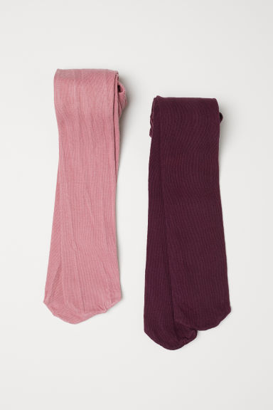2-pack tights - Dark pink - Kids | H&M