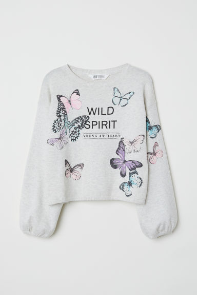 Fine-knit jumper - Grey/Butterflies - Kids | H&M
