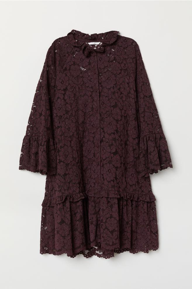 894bd8f429f Robe ample en dentelle - Bordeaux - FEMME