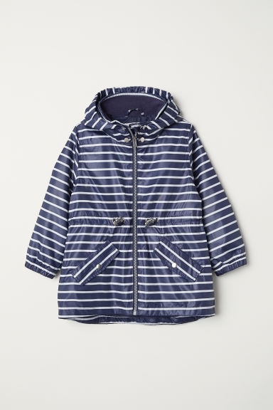 Outdoor jacket with a hood - Dark blue/Striped - Kids | H&M