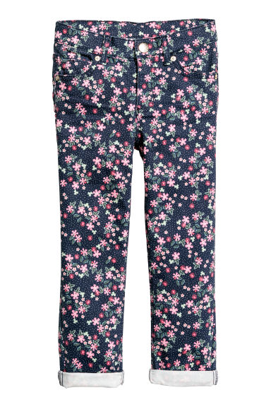 Twill trousers - Dark blue/Floral -  | H&M