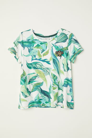 Jersey top with a motif - White/Leaf - Kids | H&M CN