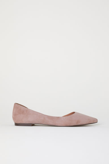 Suede ballet pumps - Powder pink - Ladies | H&M CN