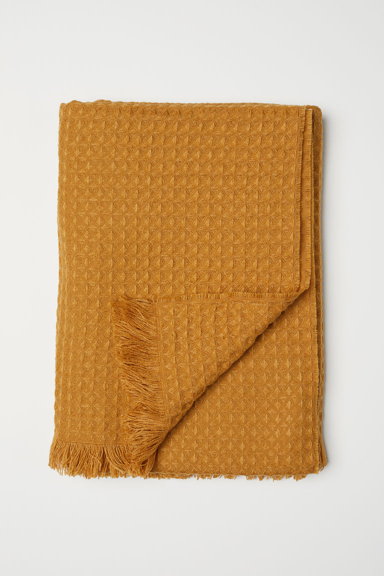 Waffled blanket - Dark yellow - Home All | H&M CN