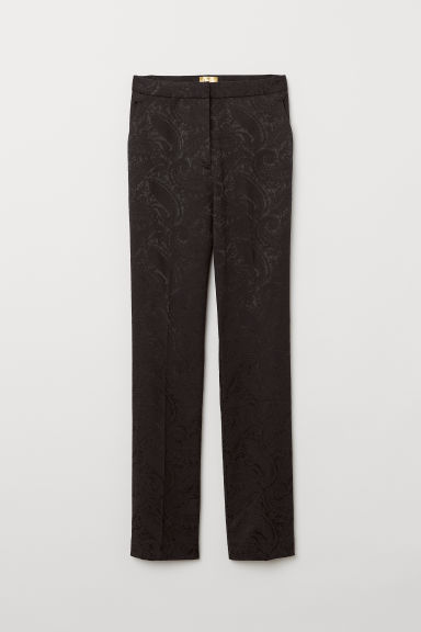 Jacquard-weave trousers - Black - Ladies | H&M
