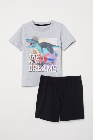 Jersey pyjamas - Grey marl/Own Your Dreams - Kids | H&M