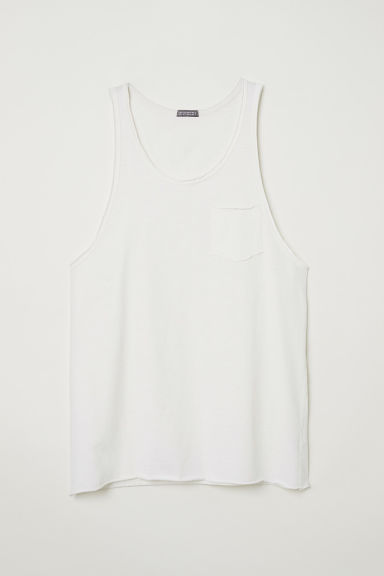 Slub jersey vest top - Natural white - Men | H&M