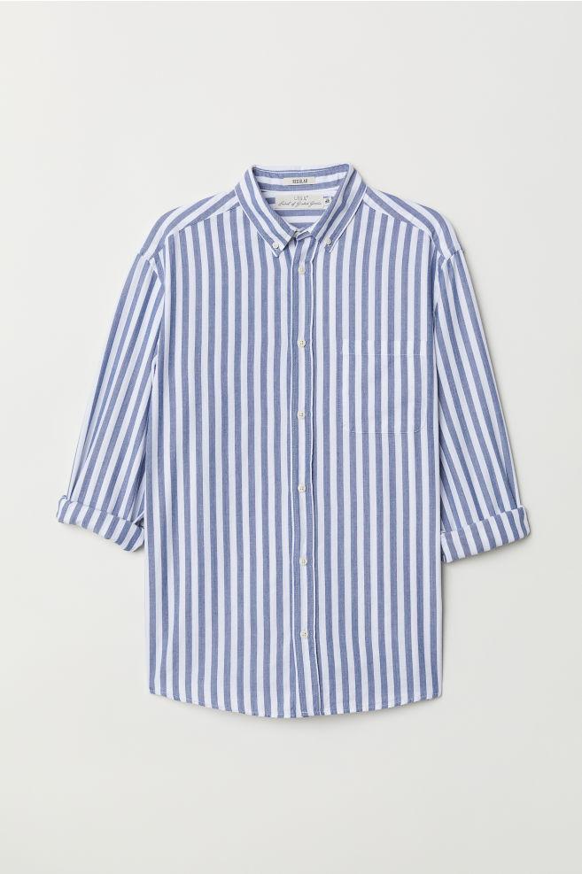Katoenen Overhemd Heren.Katoenen Overhemd Regular Fit Wit Blauw Gestreept Heren H M Nl