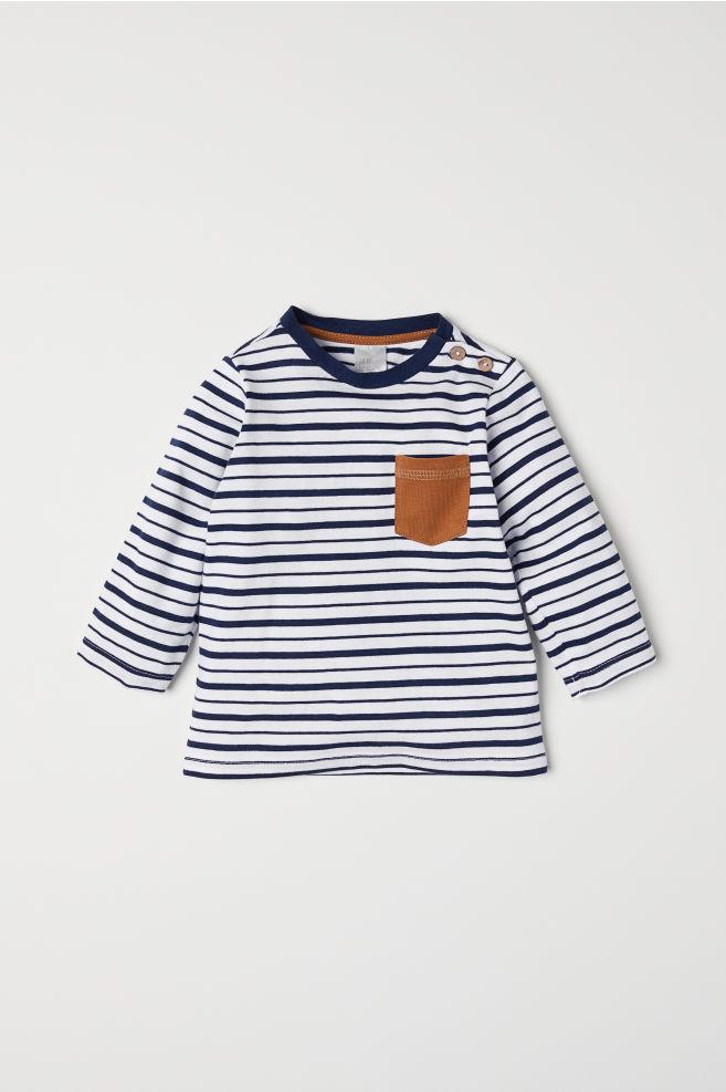 e78d97e3a7dc4 T-shirt avec poche - Blanc bleu foncé rayé - ENFANT